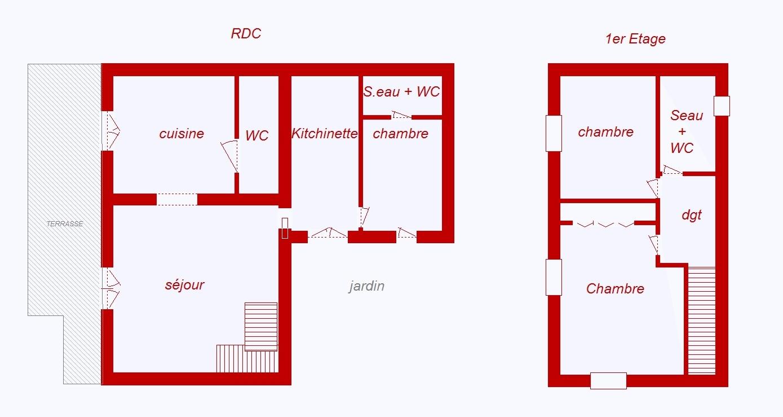 Patrimonio cap corse maison de village t3 sur 2 niveaux for Plan maison t3